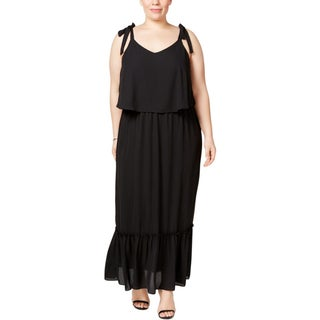 NY Collection Womens Plus Maxi Dress Tiered Popover