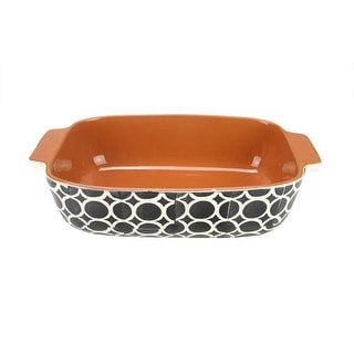 "12"" Basic Luxury Decorative Black and White Circle Rectangular Terracotta Oven Baking Dish"