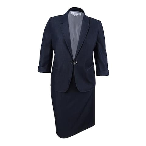 Tahari ASL Women's Buckle-Front Skirt Suit - Denim Blue