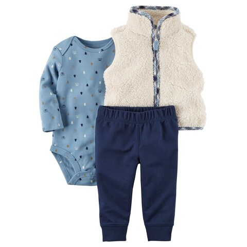 Carter's Baby Boys' 3-Piece Little Sherpa Vest Set- Plaid Wilderness -6 Months