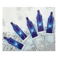 Set of 140 Blue Everglow Chasing Mini Christmas Lights - White Wire
