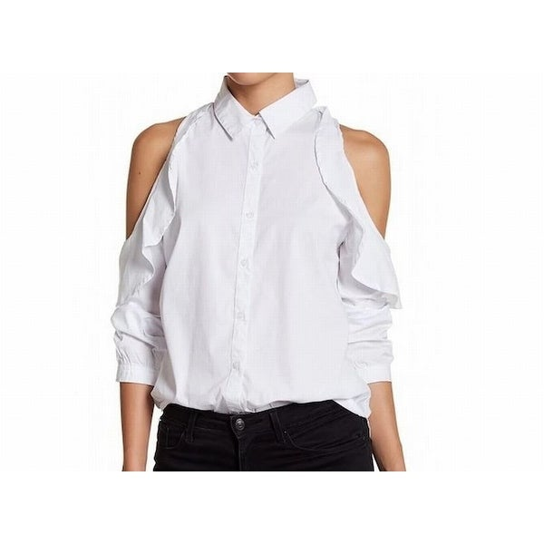 88587511 Shop Abound White Womens Size XXS Cold Shoulder Ruffled Button Down Top - Free  Shipping On Orders Over $45 - Overstock - 21952942