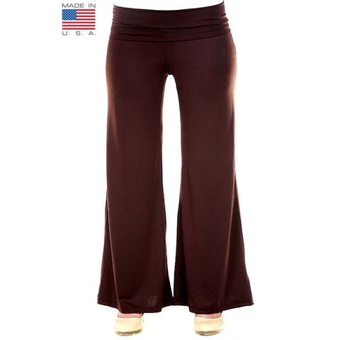 Plus Size Women's Brown Palazzo Pants Lose Fit Wide Leg Folding Waist Sexy Comfy