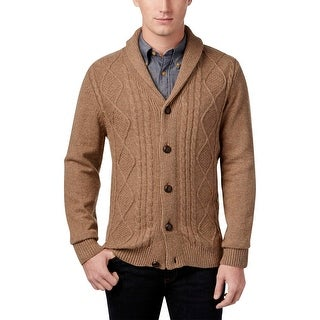 Tricots St. Raphael Mens Big & Tall Shawl-Collar Sweater Cable Knit Button-Down