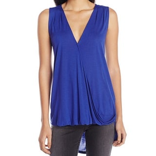 Two by Vince Camuto NEW Optic Blue Women Size Large L Faux-Wrap Tank Top