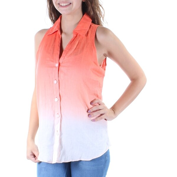 61a104d6f49724 Shop INC Womens Orange Ombre Sleeveless Collared Button Up Top Size  4 - On  Sale - Free Shipping On Orders Over  45 - Overstock - 21264944