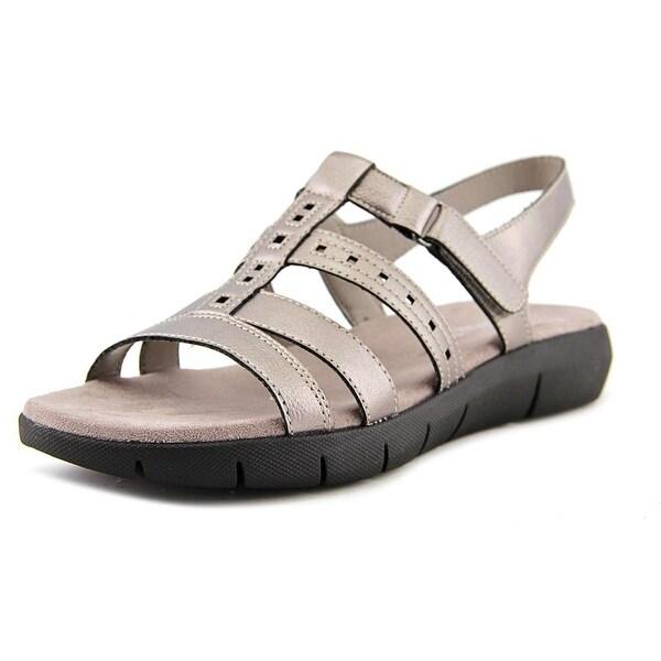 Aerosoles Wipple Threat Women Open-Toe Leather Silver Slingback Sandal