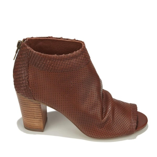 STEVEN by Steve Madden Womens Normandi Leather Peep Toe Ankle, Cognac, Size 9.5