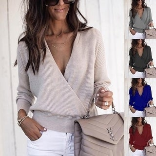 Womens Long Sleeved Deep-V Neck Cross Front Knitted Sweaters Tops