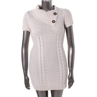Pink Rose Womens Juniors Sweaterdress Cable Knit Shawl - XL