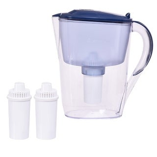 Costway Water Pitcher Filter 10 Cup Capacity BPA Free with 3 Filter Portable Blue