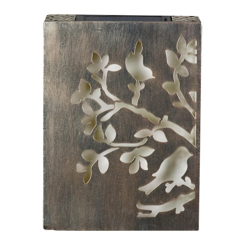Exhart Solar Stamped Metal Tree Branch with Birds Wall Art, 12 x 17 Inches