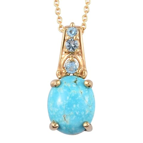 925 Silver Turquoise Blue Topaz Pendant Necklace Size 20 In Ct 3.4 - Size 20''