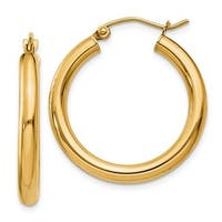 14k Yellow Gold Polished 3mm Round Hoop Earrings