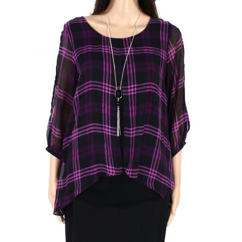 AGB Womens Necklace Blouse Black Pink Size Small S Plaid Cold-Shoulder