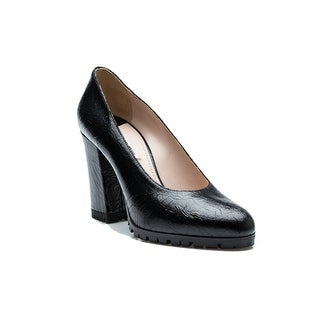 Miu Miu Women's Cracked Leather High Heel Rubber Sole Pump Shoes Black - 9 us
