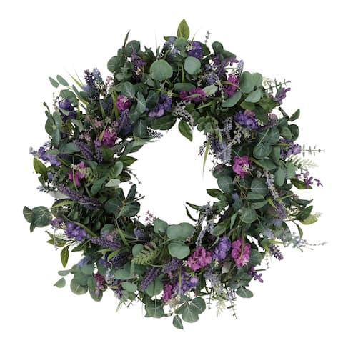 "30"" Artificial Lavender And Eucalyptus Floral Spring Wreath"