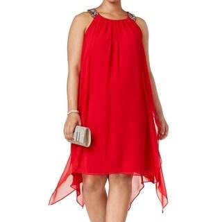 Xscape Red Womens Size 14W Plus Chiffon Embellished Shift Dress