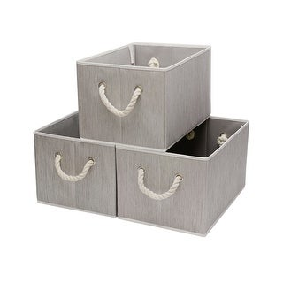 StorageWorks Storage Basket Bin with Rope Handle, 3-Pack, Gray, Jumbo