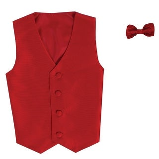 Baby Boys Red Poly Silk Vest Bowtie Special Occasion Set 3-24M