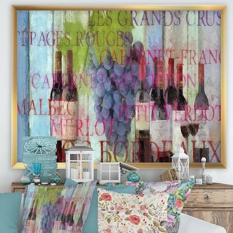 Designart 'Bordeaux Wine' Cottage Framed Art Print