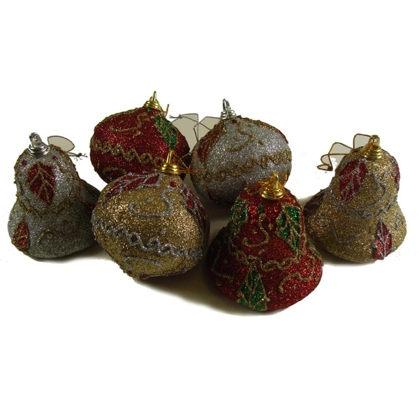 Club Pack of 288 Onion and Bell Shaped Glittered Ivy Christmas Ornaments 3""
