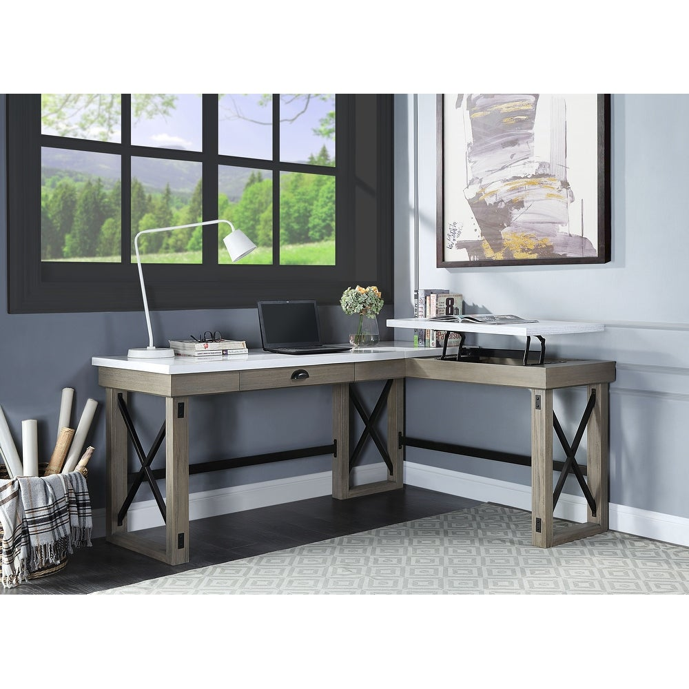ACME Talmar Writing Marble Top Desk with Lift Top