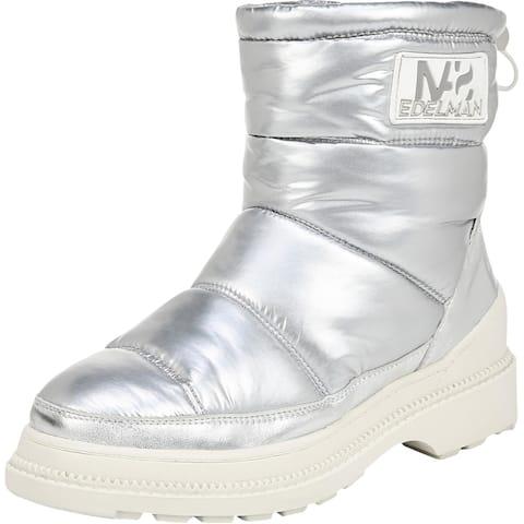 Sam Edelman Womens Carlton Winter Boots Leather Metallic - Silver Nylon