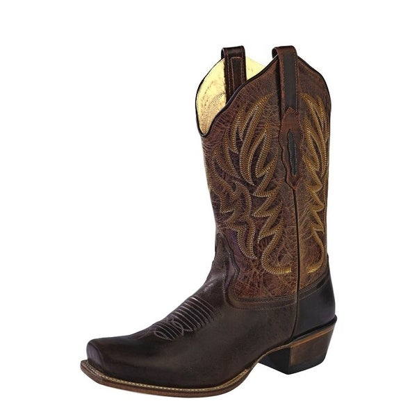 Old West Cowboy Boots Womens Square Goodyear Tabs Dark Brown