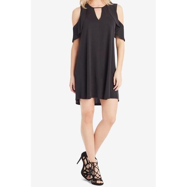 Jessica Simpson Black Womens Size Small S Cold Shoulder Shift Dress