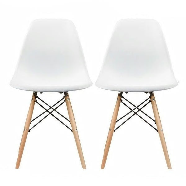 Plastic Eiffel Dining Chairs with Wood Dowel Legs (Set of 2). Opens flyout.