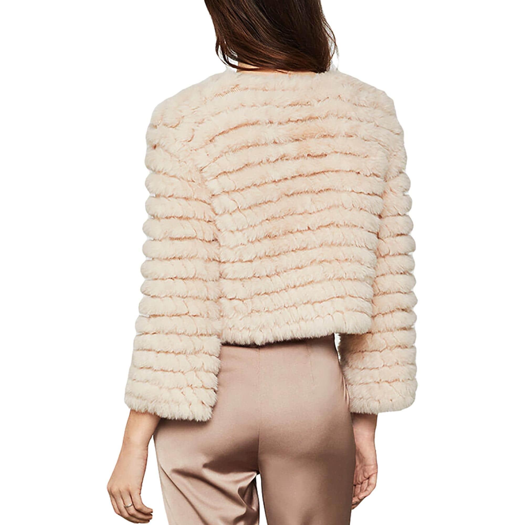 BCBG Max Azria Womens Sophiana Cropped Fashion Faux Fur Coat