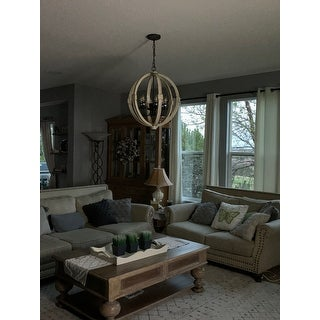 A&B Home Calder Distressed White Wooden Ceiling Chandelier