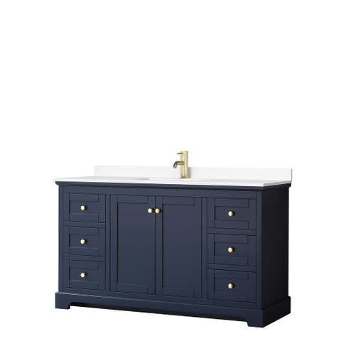 Avery 60 Inch Single Vanity, Cultured Marble Top