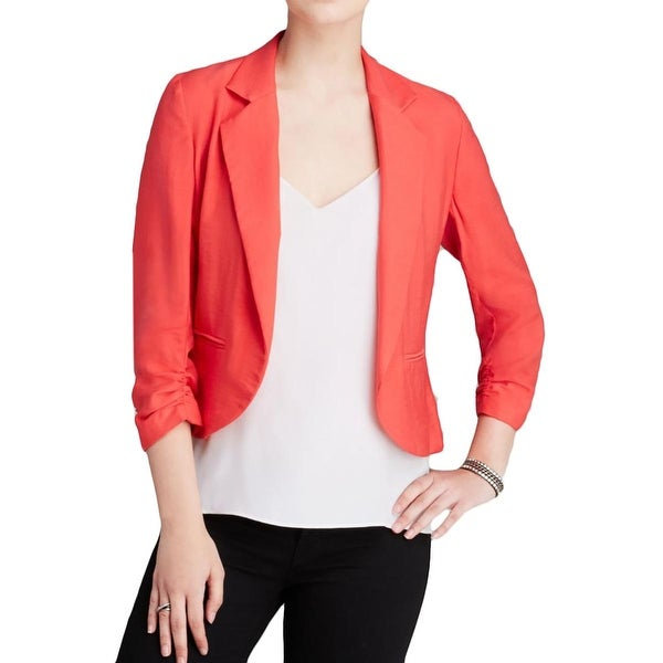 Aqua Womens Casual Blazer Ruched Open Front