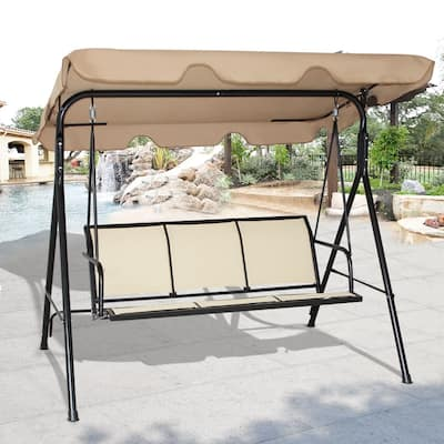 Outdoor Patio Swing Canopy Bench Chair Rocking Hammock Black/Brown
