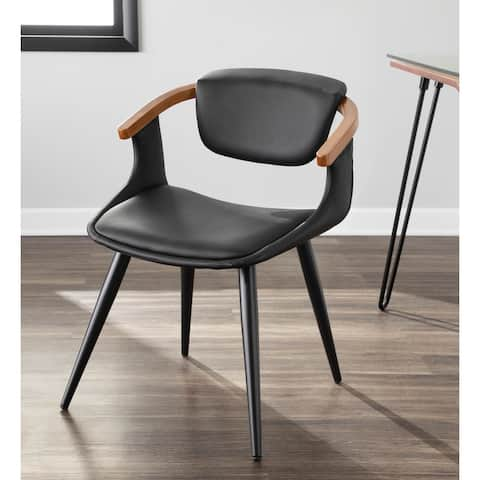 Oracle Mid-Century Modern Dining Chair in Faux Leather, Black Metal, & Walnut Wood - N/A