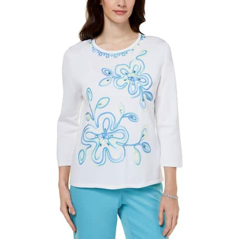 Alfred Dunner Womens Pullover Sweater Soutache Embellished - XL
