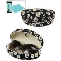 JAVOedge Daisy Flower Pattern Hard Clamshell Style Sunglass / Eyeglass Case - White