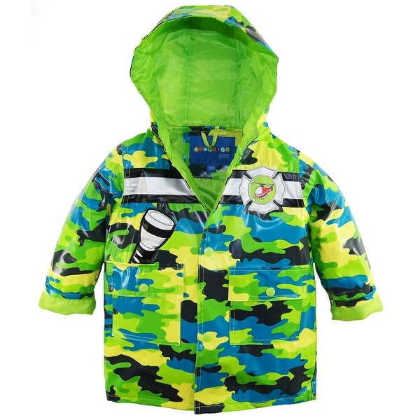 2f38574cb Wippette Baby Boys Waterproof Hooded Camo with Rescue Chopper Raincoat  Jacket