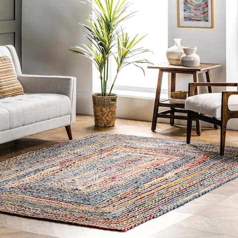 nuLOOM Raquel Jute and Cotton Braided Bohemian Area Rug