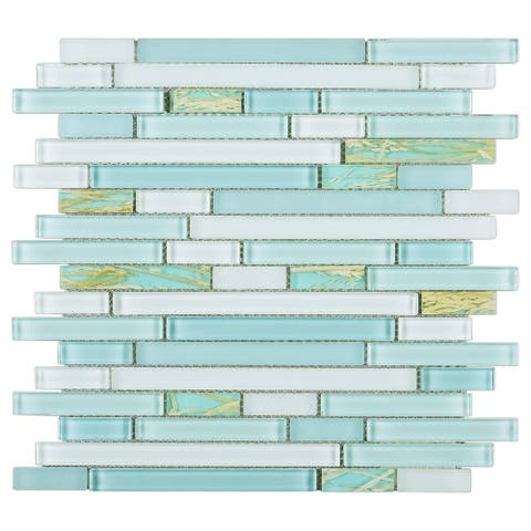 TileGen. Random Sized Glass Mosaic Tile in Blue/White Wall Tile (10 sheets/9.6sqft.)