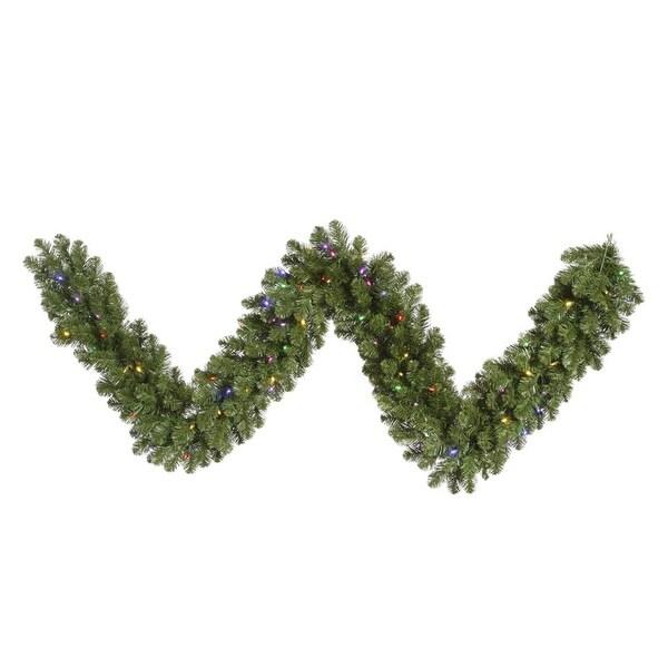 "9' x 14"" Pre-Lit Grand Teton Artificial Christmas Garland - Multi-Color LED Lights - green"
