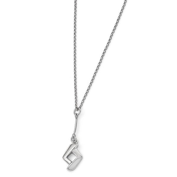 Italian Sterling Silver Polished with 1in ext. Necklace - 17 inches