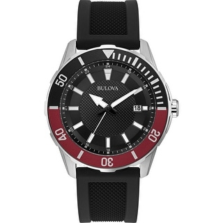 Link to Bulova Mens 98B348 Sport Stainless Black Silicone Strap Watch - Silver-Tone Similar Items in Men's Watches
