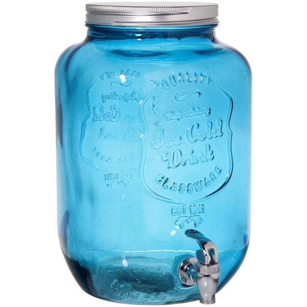 Palais Glassware Mason Jar Beverage Dispenser - Traditional Tin Screw Off Lid - 2 Gallon Capacity - ('Ice Cold Drink' Embossed,