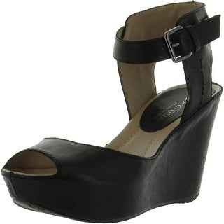 Kenneth Cole Reaction Women's Sole My Heart Wedge Sandal - Black Leather