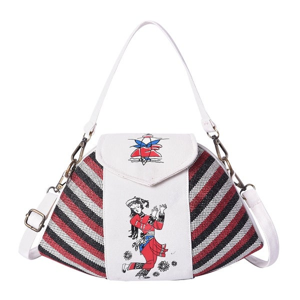 Ethnic Bag Collection White Strip Pattern Jute Tote Bag Shoulder Strap - 13x.5.50x9.45. Opens flyout.