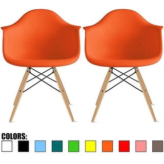 2xhome Set of Two (2) Eames Style High Quality Dining Room Arm Chairs With Natural Wood Eiffel Style Legs