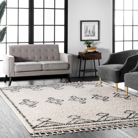 nuLoom Off-white/Black Abstract Soft and Plush Rug